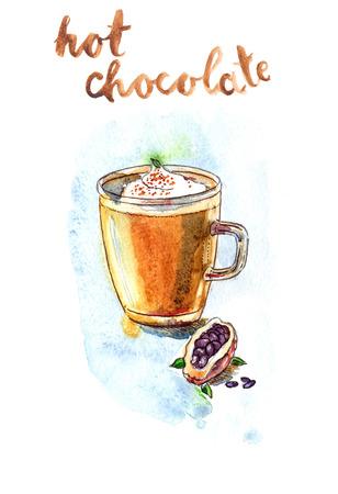 hot chocolate: Watercolor hand drawn hot chocolate - Illustration