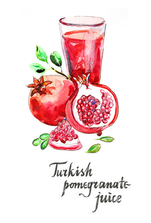 pomegranate juice: Watercolor hand drawn turkish pomegranate juice - Illustration