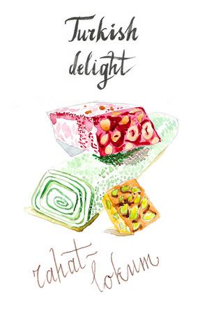 turkish dessert: Watercolor hand drawn turkish rahat-lokum - Illustration, turkish delight, sweet. Stock Photo