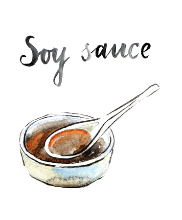 rice plate: Watercolor hand drawn soy sauce - Illustration