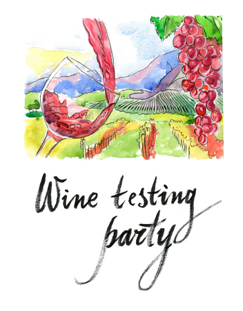 wine testing: Watercolor hand drawn wine testing party - Illustration