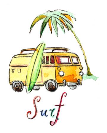 volkswagen: Watercolor hand drawn surfing car - Illustration
