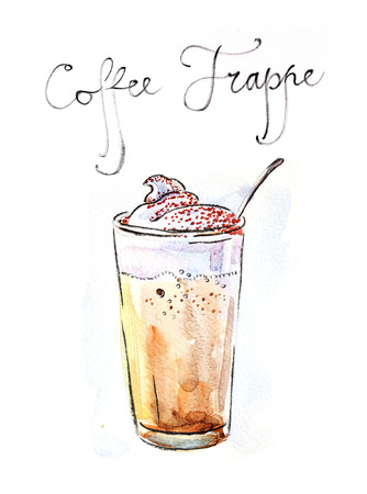 cold coffee: Watercolor hand drawn coffee frappe - Illustration