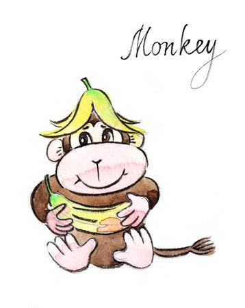 banana caricatura: dibujado a mano acuarela mono divertido - Ilustración