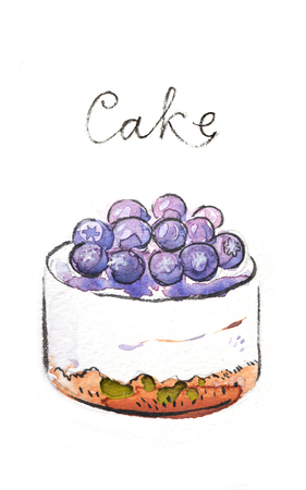 bilberry: Watercolor hand drawn cake with bilberry - Illustration Stock Photo