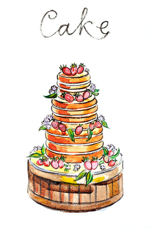 torte: Watercolor hand drawn torte (cake) - Illustration Stock Photo