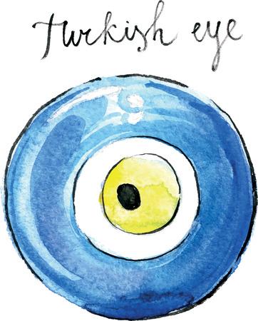 Watercolor hand drawn turkish eye (souvenir) - vector Illustration 矢量图像