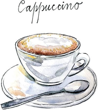 cappuccino cup: Watercolor hand drawn coffee cappuccino - vector Illustration