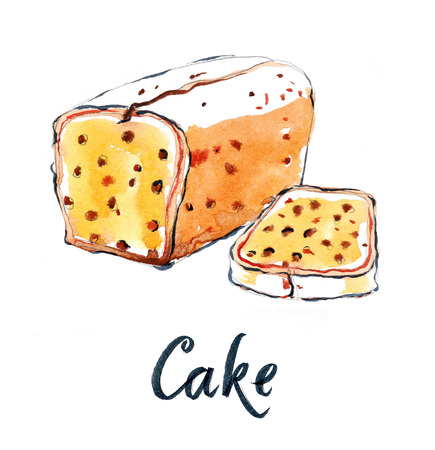 raisin: Watercolor cake with raisins, hand drawn - Illustration