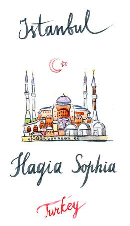 hagia sophia: Watercolor of Hagia Sophia, mosque in Istanbul, hand drawn - Illustration