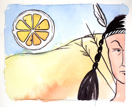 sioux: Watercolor indian and big orange, hand drawn - Illustration Stock Photo