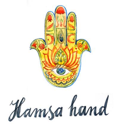 egyptian lily: Watercolor of hamsa hand, hand drawn - Illustration