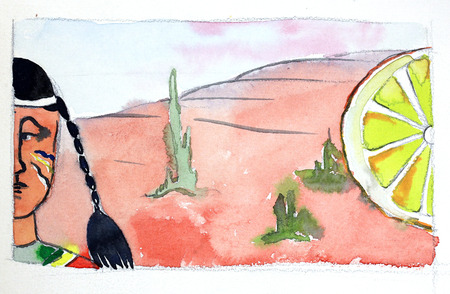 peyote: Watercolor indian, cacti and big lemon, hand drawn - Illustration