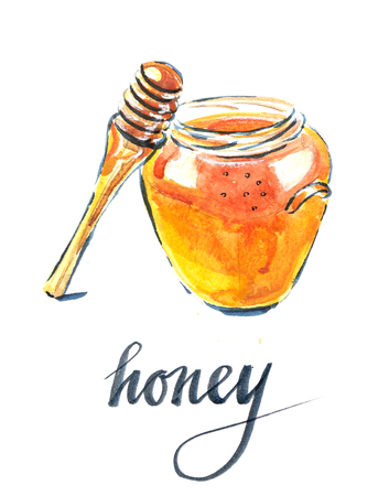 Watercolor of jar with honey, hand drawn - Illustration