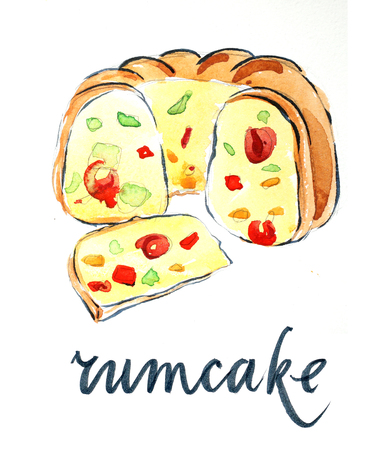 fruitcakes: Watercolor cake with candied fruit, hand drawn - Illustration