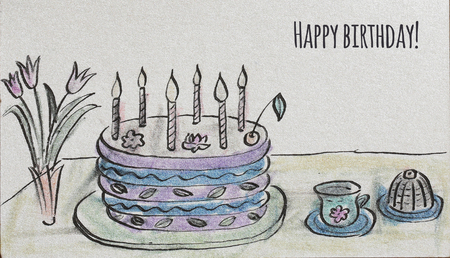 small cake: Hand drawn congratulatory big cake with candles, cherry and flowers, tulips, cup and small cake - Illustration