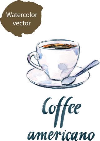 americana: Watercolor cup of coffee Americana, hand drawn - vector Illustration