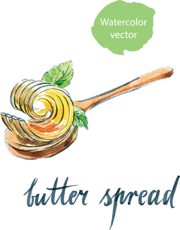Watercolor butter spread on spoon with mint leaves, hand drawn - vector Illustration Ilustração