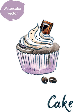 cupcake illustration: Watercolor cupcake with chocolate, hand drawn - vector Illustration Illustration