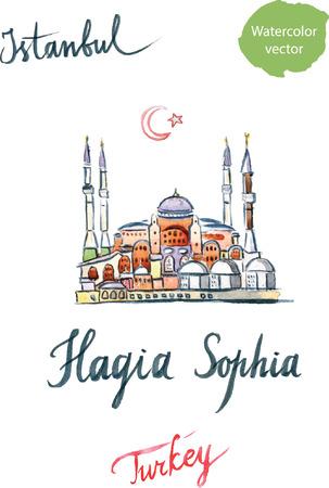 aya: Watercolor of Hagia Sophia, mosque in Istanbul, hand drawn - vector Illustration