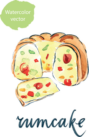 fruit cake: Watercolor cake with candied fruit, hand drawn - vector Illustration