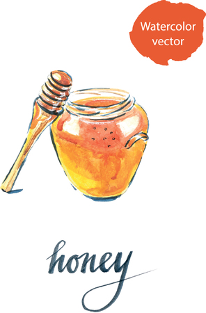 Watercolor of jar with honey, hand drawn - vector Illustration