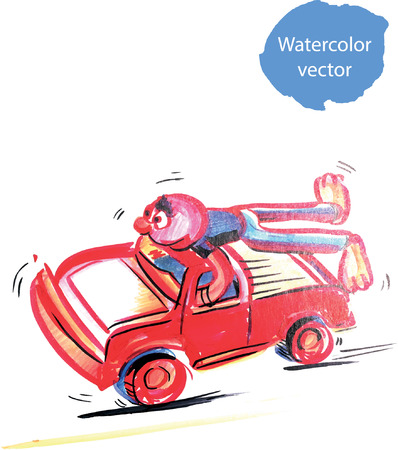 red man: Funny character of red man on a red car, hand drawn - vector Illustration