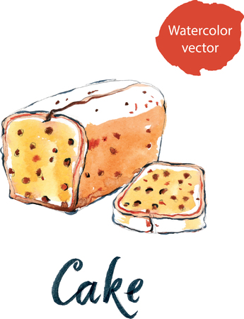 fruitcakes: Watercolor cake with raisins, hand drawn - vector Illustration