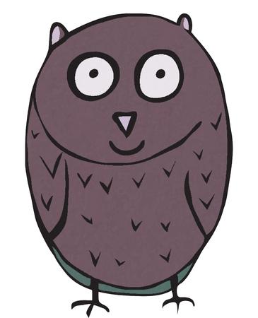 night vision: Funny owl, hand drawn - vector Illustration Illustration