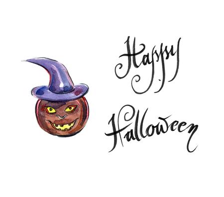 freshly: Freshly carved Jack-o-Lantern pumpkin, hand drawn - Illustration