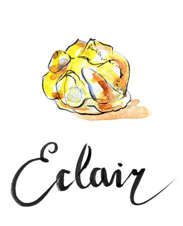 eclair: Watercolor eclair, hand drawn - Illustration Stock Photo