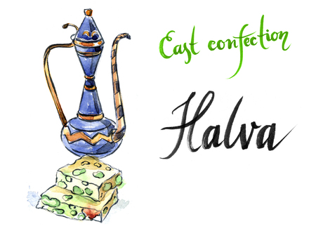 confect: Watercolor sliced halva with green pistachio, pitcher, hand drawn - Illustration