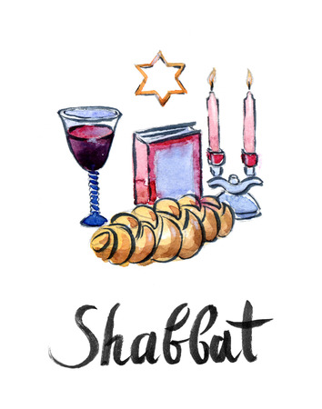 santa cena: Acuarela mesa de Shabat completa, dibujado a mano - Ilustraci�n