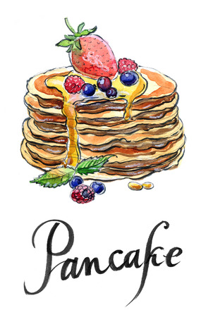 maple syrup: Watercolor pancakes with maple syrup, raspberries and bilberries, hand drawn - Illustration Stock Photo