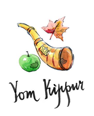 shofar: Watercolor shofar, star of David, apple and autumn leaf, hand drawn - Illustration Archivio Fotografico
