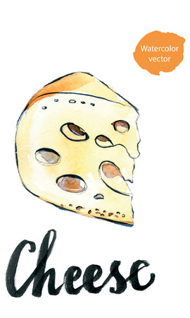 swiss cheese: Watercolor perfect pieces of Swiss cheese, hand drawn - vector Illustration Stock Photo