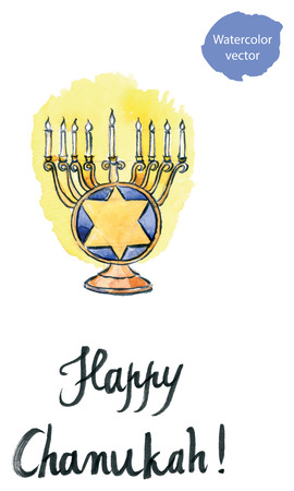 hebrew bibles: Watercolor Hanukkah Menorah with all candles lit, Jewish holiday, hand drawn - vector Illustration Stock Photo