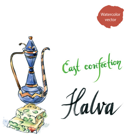 confect: Watercolor sliced halva with green pistachio, pitcher, hand drawn - vector Illustration