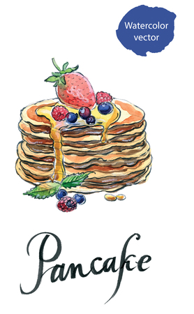 maple syrup: Watercolor pancakes with maple syrup, raspberries and bilberries, hand drawn - vector Illustration