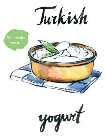 turkish dessert: Watercolor delicious homemade yogurt with mint, hand drawn - vector Illustration