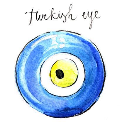 souvenir: Watercolor hand drawn turkish eye souvenir - Illustration