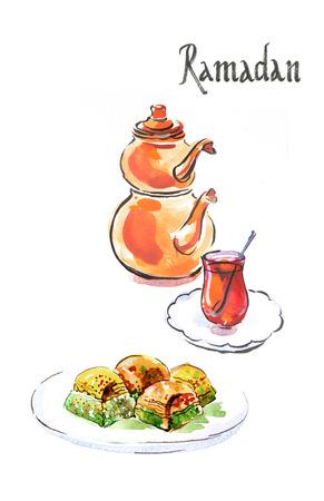 puff pastry: Watercolor hand drawn Ramadan and turkish tea with turkish baklava - Illustration