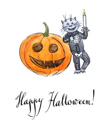 skeleton costume: Cat wearing a skeleton costume, watercolor, hand drawn - Illustration Stock Photo