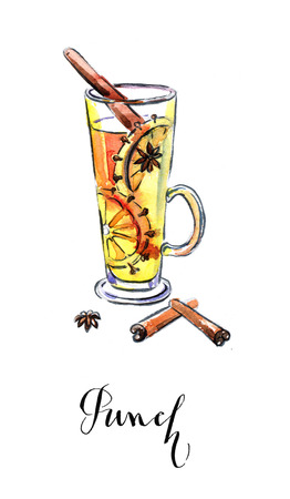 punch: Christmas punch, watercolor, hand drawn - Illustration