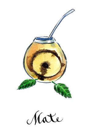 yerba mate: Calabash con yerba mate tradicional compa�ero de t� paraguayo, acuarela, dibujado a mano - Ilustraci�n