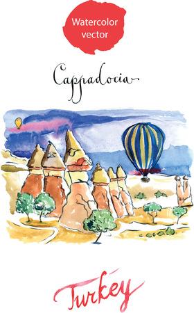 Hot air balloons of Cappadocia, hand drawn, watercolor - vector Illustration