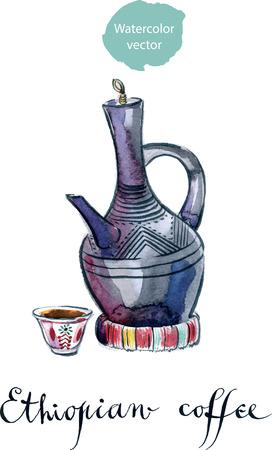 ethiopian: Traditional Ethiopian clay coffee pot, watercolor, hand drawn - vector Illustration