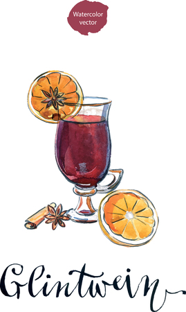 Hot mulled wine with oranges, anise and cinnamon, in German it sounds like Glintwein, watercolor, hand drawn - vector Illustration