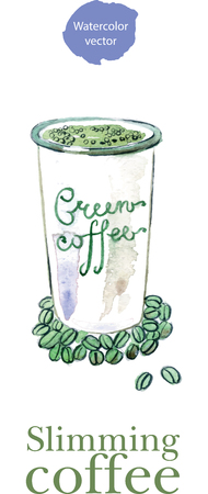 green coffee beans: Coffee cup with diet green coffee beans and leaf, watercolor, hand drawn - vector Illustration Illustration