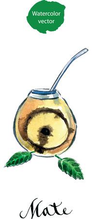 yerba mate: Calabash con yerba mate (yerba paraguaya t� tradicional), acuarela, dibujado a mano - vector Ilustraci�n